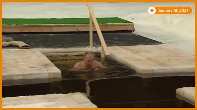 Tổng thống Putin cởi trần, ngâm mình dưới nước lạnh âm độ C
